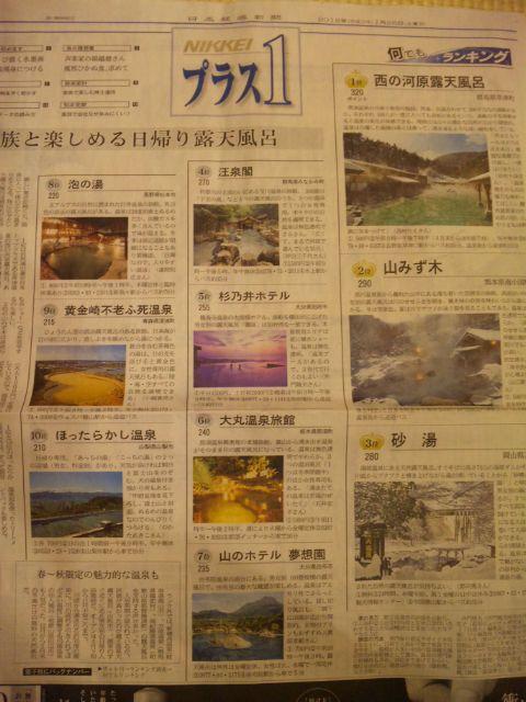 日経プラス1「家族と楽しめる大露天風呂」ランキング