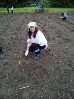 畑で地大豆を植えてま〜す。