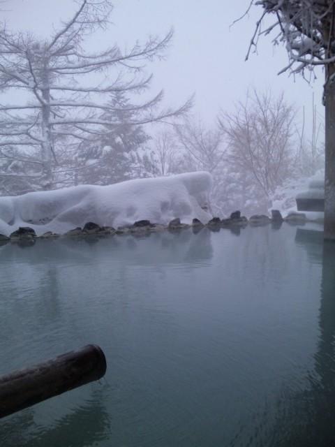 マイナス12<br />  度、雪の朝湯